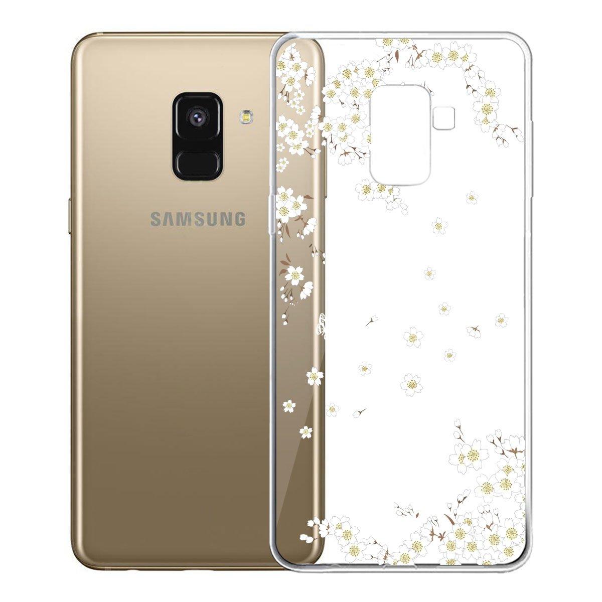 IJIA Custodia per Samsung Galaxy A8 2018 Trasparente Bianco Bello Ewha TPU Silicone Morbido Protettivo Coperchio Protettiva Case Cover SM-A530 5.6