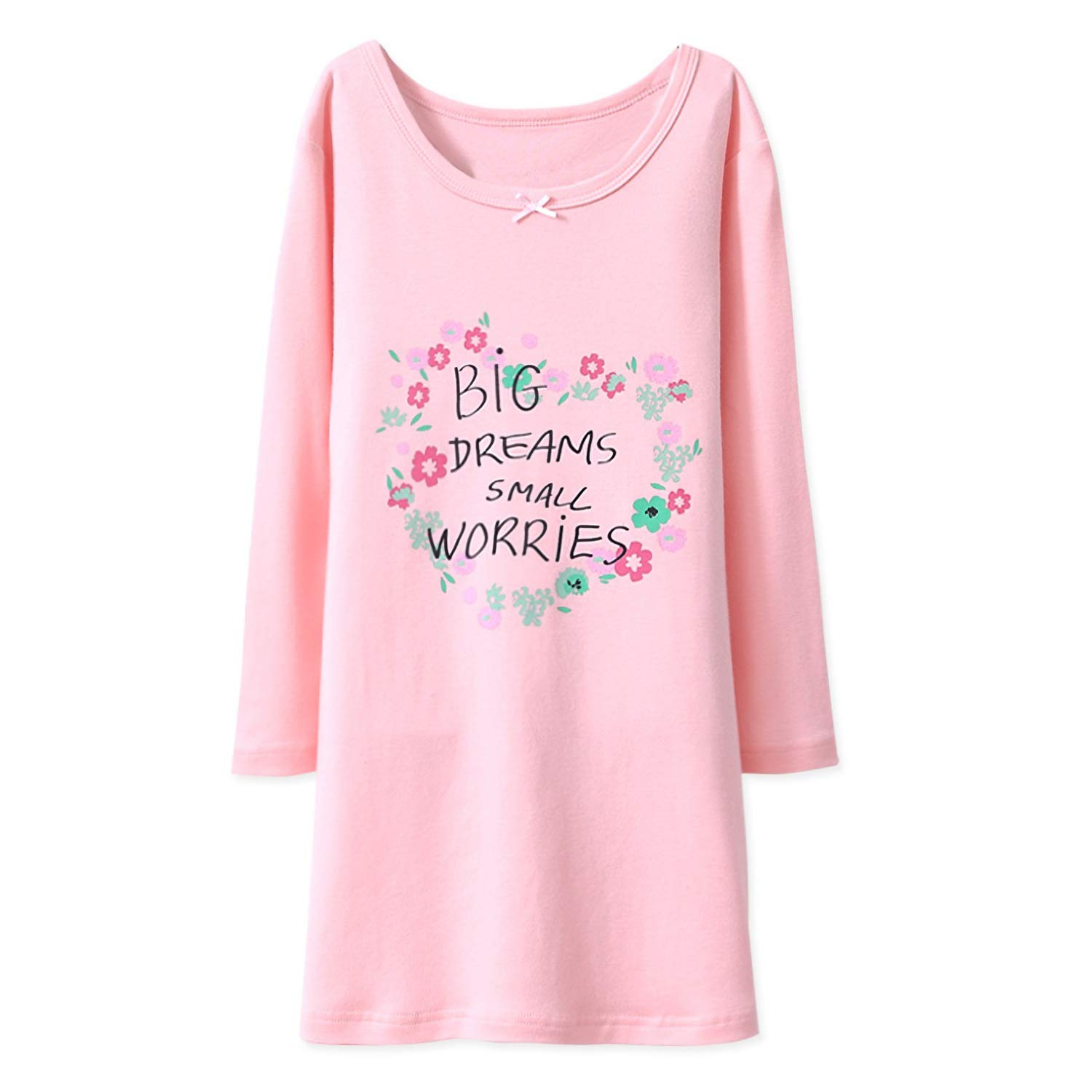BLOMDE Girls' Floral Nightie Flower Printing Sleepwear Cotton Sleep Shirts for 3-12 Years