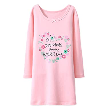 d5c935f3e BLOMDE Girls  Floral Nightgown Flower Printing Sleepwear Cotton ...