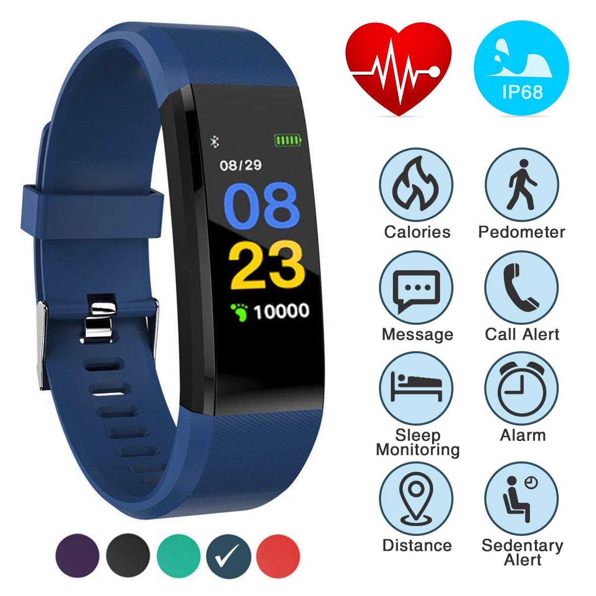 Burn-Rate Fitness Tracker Heart Rate Monitor - Smart Watches for Women & Men, Kids Color Smart Watch Fit Bracelet. Reloj Inteligente band Pedometer, Waterproof, Distance Activity bit for Android & iOS by Burn-Rate Fitness 115plus (Image #2)