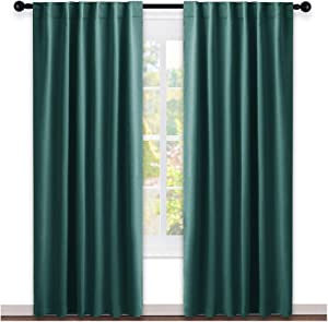 NICETOWN Living Room Blackout Draperies Curtains - (Hunter Green Color) W52 x L84, 2 Pieces, Room Darkening Window Blackout Drape Panels