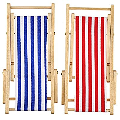 2PCS 1:12 Miniature Dollhouse Foldable Wooden Beach Chair Chaise Longue Toys with Stripe Red/Blue - House Outdoor Furniture Accessories: Toys & Games