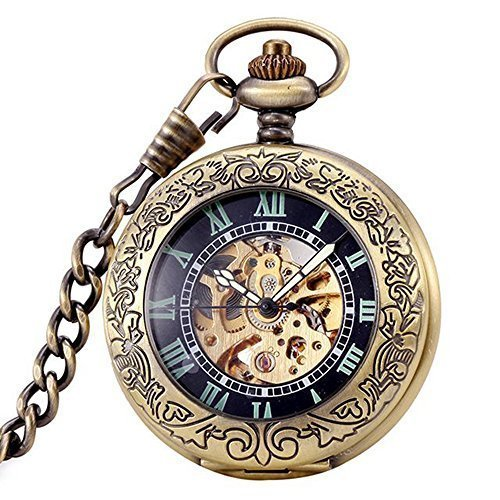 Magnifier Glass For Mens Bronze Color Skeleton Steel Automatic Pocket Watch