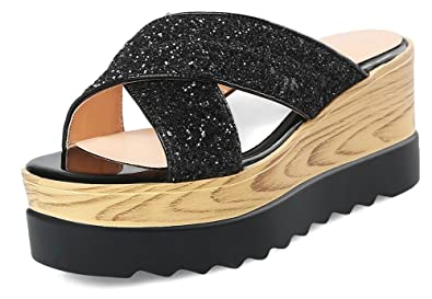 f1453a6ad075 SFNLD Women s Stylish Sequined Low Cut Square Toe Slide On Platform Thick  Sole Slippers Sandals Black
