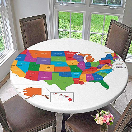 Mikihome Round Table Tablecloth Map with States and