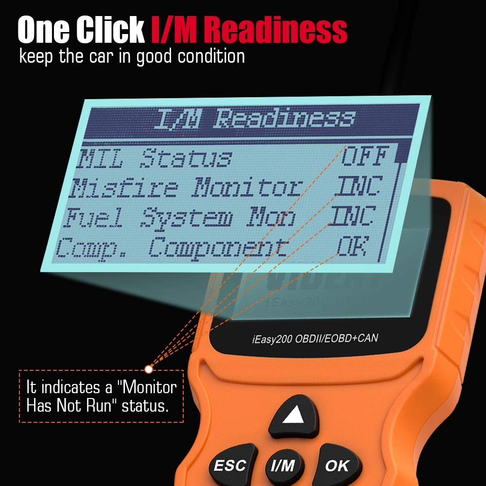 VIDENT iEasy200 OBDII/EOBD CAN Engine Light Scan Tool Car Code Reader with I/M Readiness (iEasy200)