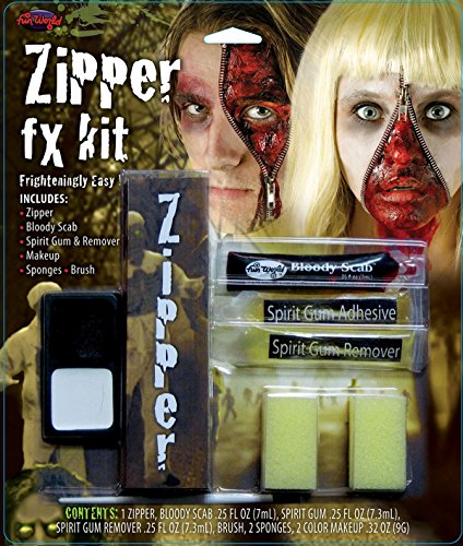 [Halloween Fancy Party Accessory Adults Fake Artificial Scary Wound Zipper Fx Kit] (Zipper Fx Kit)