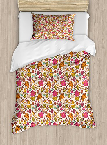 Ambesonne Tea Party Twin Size Duvet Cover Set, Retro Style K