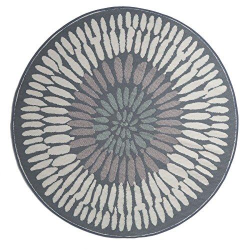 Fab Hab Reversible, Indoor/Outdoor Weather Resistant Floor Mat/Rug - Azores - Round Gray (6' Round)