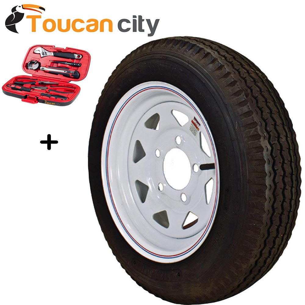 Loadstar 480-12 K353 BIAS 780 lb. Load Capacity White with Stripe 12 in. Bias Trailer Tire and Wheel Assembly 3S560 and Toucan City Tool kit (9-Piece)