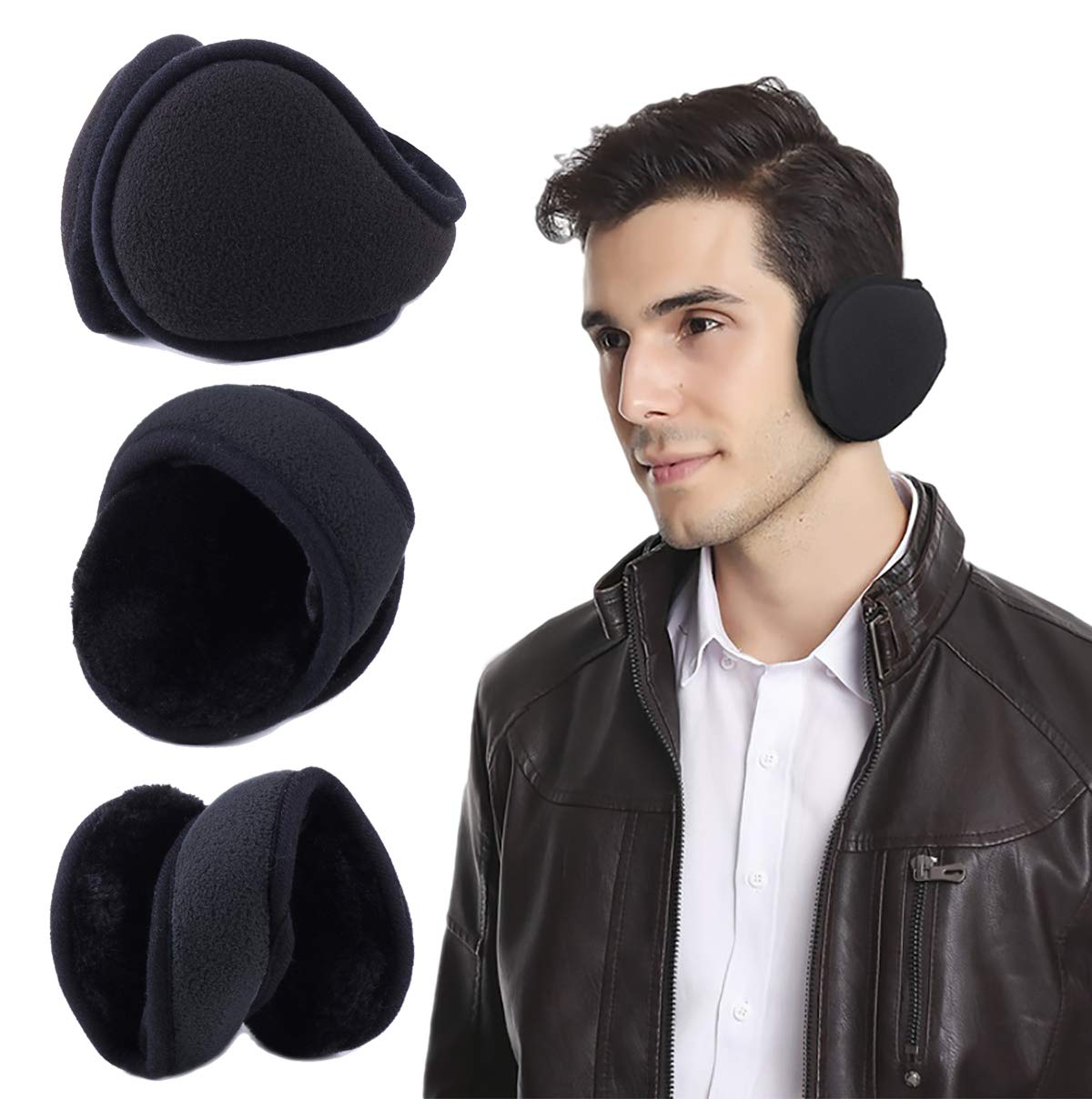 Eianru Polar Fleece Ear Cover Foldable Wrap Winter Accessory Outdoor EarMuffs (One size, Black A)