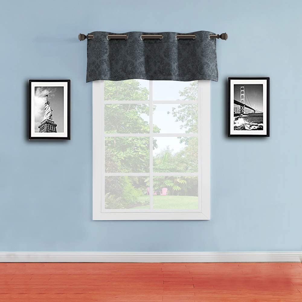 "WARM HOME DESIGNS 1 Charcoal Color Wide 54"" x 18"" Valance Size Embossed Damask Patterned Textured Curtain Top for Kitchen, Bathroom or Any Other Window. EV Charcoal Valance"
