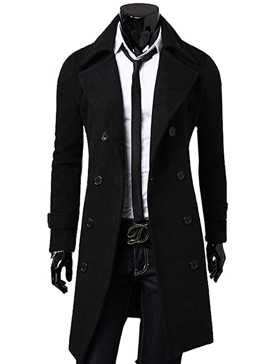 LemonGirl Mens Lapel Double-Breasted Jacket Long Coat Trenchcoats at Amazon Mens Clothing store: