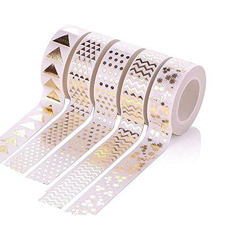 Isuper Belleza 5 rollo sellado de oro del estilo de Washi Tape cintas adhesivas decorativas para