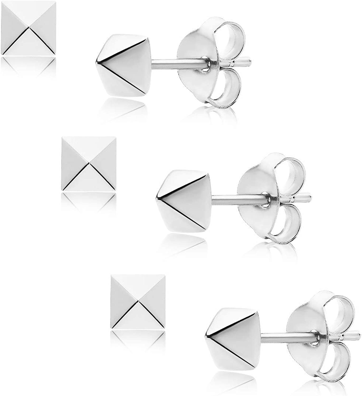 Big Apple Hoops - High Polish Sterling Silver 3 Pair Set of Square Pyramid Small Stud Earrings Made from Genuine 925 Sterling Silver in 4 Colors Silver, Gold, Rose, Black Gift for Men, Teens, Women
