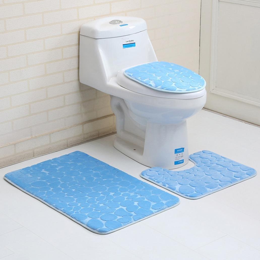 3PC Bathroom Set Stone Pattern Pedestal Rug Mat Toilet Lid Cover Bath Mats (F) by FreshZone