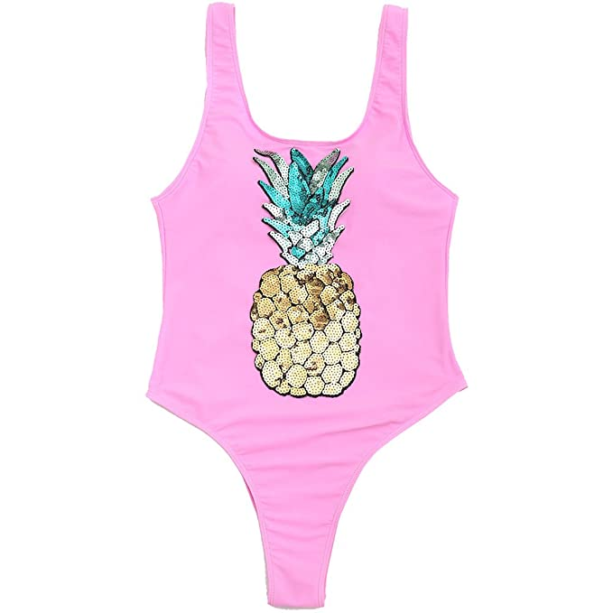 d2c9edd1d3fc7 Bestag Sequined Pineapple One Piece Swimsuit Bathing Suit Swimwear (Pink