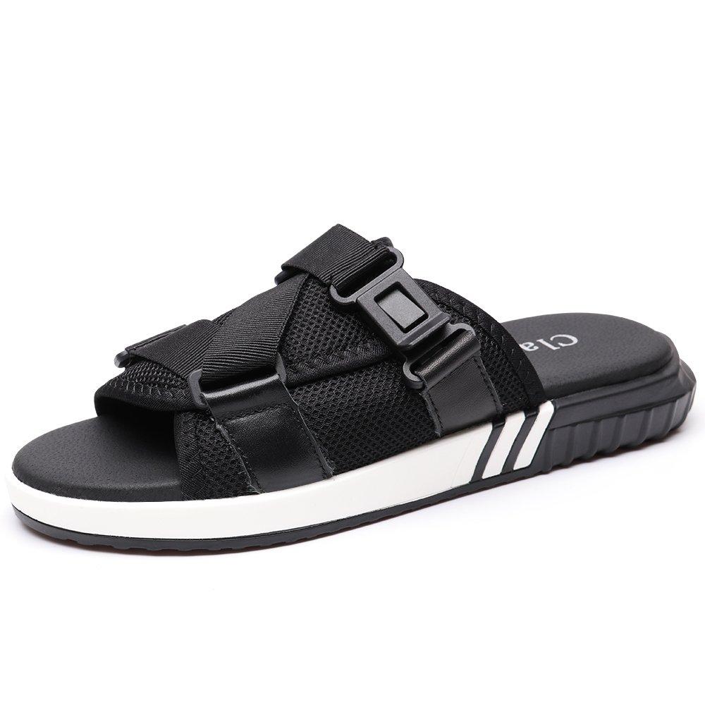 VILOCY Men's Summer Outdoor Slide Sandals Slippers Beach Shoes Adjustable Buckle Peep-Toe Flip Flops 6.5