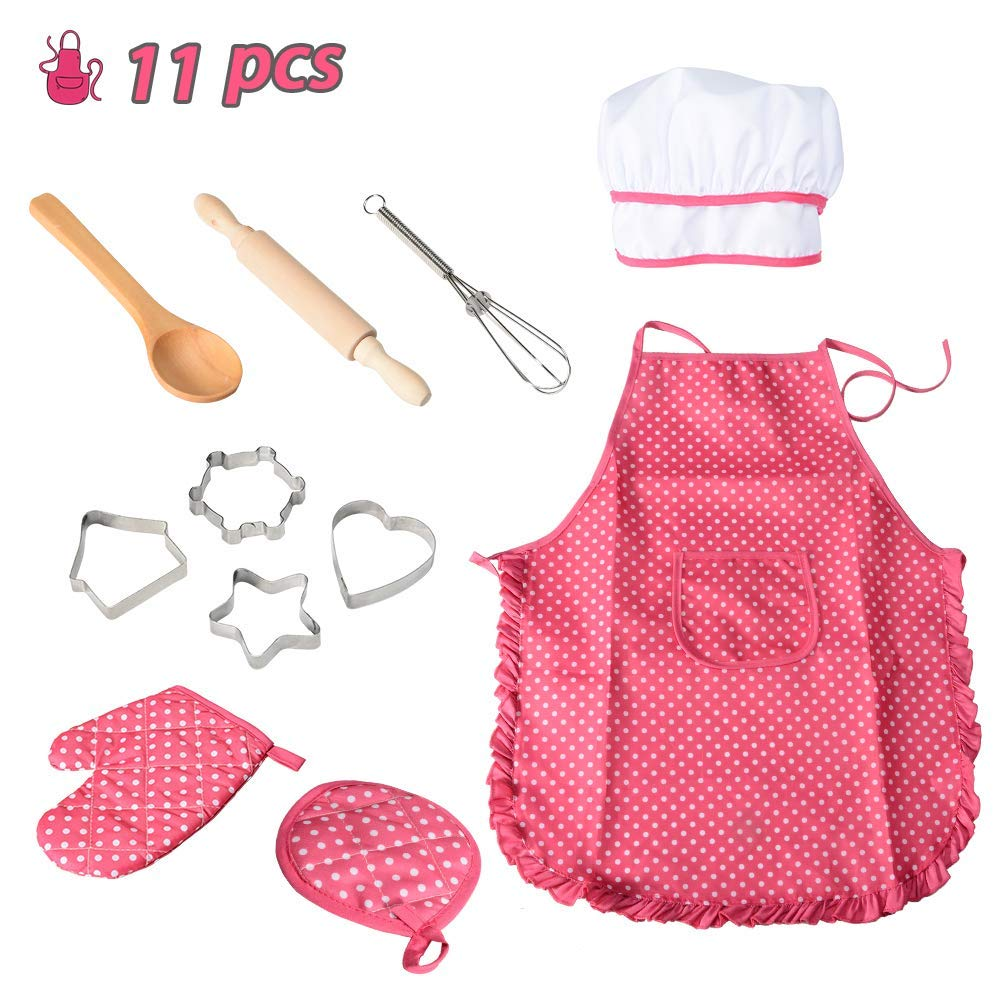 Geefia Kids Apron Set for Girls Cooking and Baking, 11 Pcs Chef Set with Chef Hat, Oven Mitt, and Other Cooking Utensils for Toddler Chef Career Role Play, Age 3+ Dress up Pretend Play Gifts