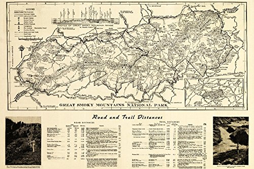 (Great Smoky Mountains National Park, Tennesseee - (1941) - Panoramic Map (12x18 Art Print, Wall Decor Travel Poster))