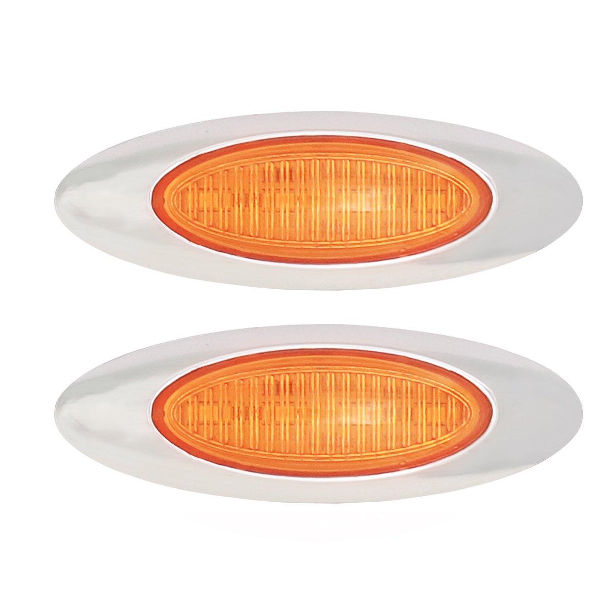 BlyilyB 2-Pack Waterproof Flush Mount 6 Oval Red LED Tail Stop Brake Turn Trailer Lights