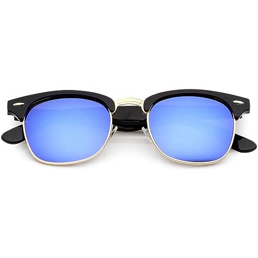 dbe257564f sunglassLA - Classic Horn Rimmed Semi Rimless Sunglasses For Men Women  Mirrored Lens 50mm (Black