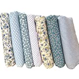 Souarts Floral Cotton Fabric Bundles Quilting Sewing Patchwork Cloths DIY Craft (Blue)
