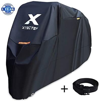 XYZCTEM Motorcycle Cover -Waterproof Outdoor Storage Bag,Made of Heavy Duty Material Fits up to 108 inch, Compatible with Harley Davison and All motors(Black& Lockholes& Professional Windproof Strap): Automotive