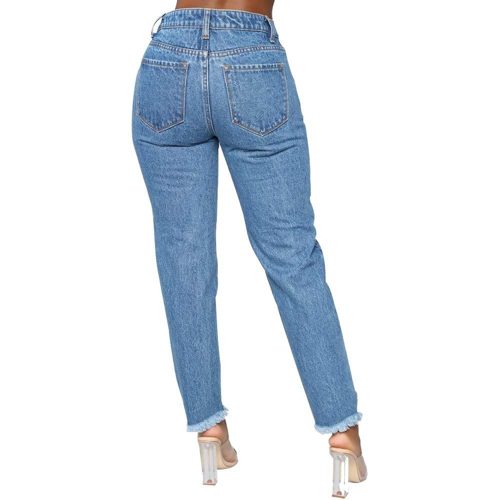 Coupe au Genou avec Glands Hopin Pantalon Slim Taille Haute d/échir/é pour Femme