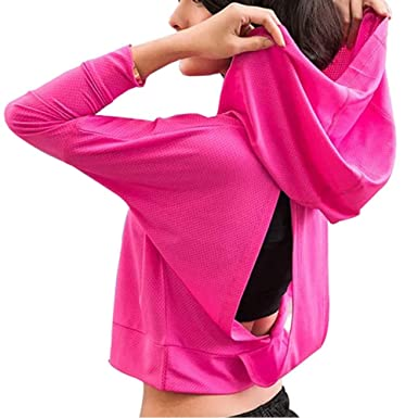 f70a56fa2a531d Fit Frenchie Women's Long Sleeve Yoga Workout Active Open Back Cowl Back  Active Performance Mesh Hoodie
