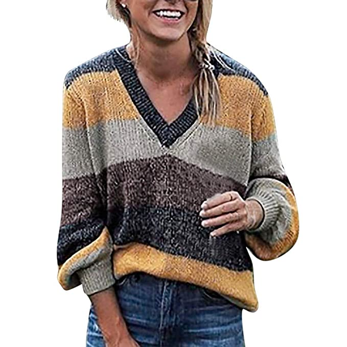 c89bfd371c Clearance Sale! Wintialy Plus Size Womens Long Sleeve T-Shirt Tops V-Neck  Stripe Knitting Sweater Blouse at Amazon Women s Clothing store