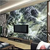 LHDLily 3D Wallpaper Mural Wall Sticker Thickening Stereoscopic Large Jade Landscapes Magnolia Reliefs Tv Backdrop Jade Papers Home 300cmX200cm