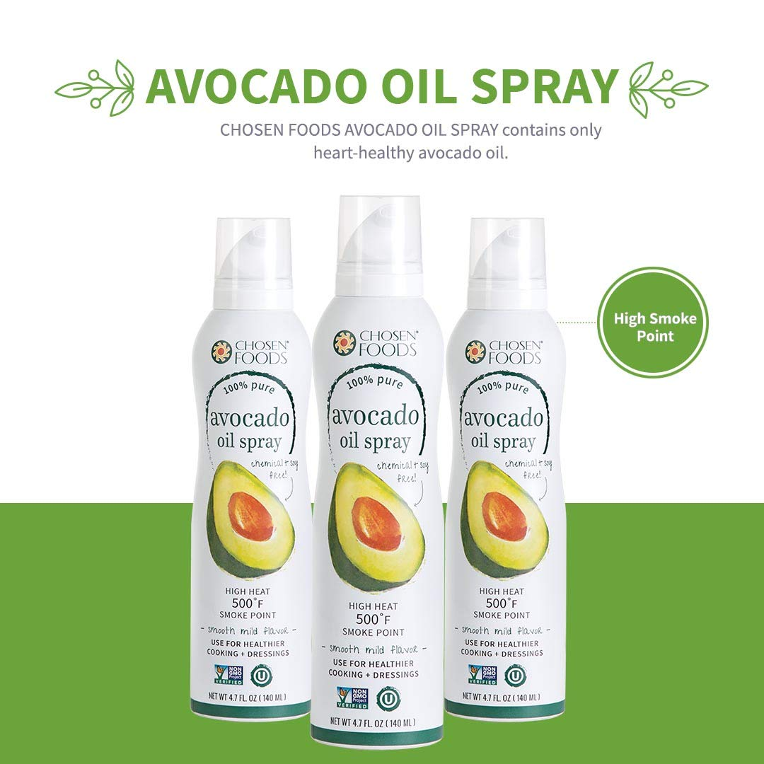 Chosen Foods 100% Pure Avocado Oil Spray 4.7 oz. (3 Pack), Non-GMO, 500° F Smoke Point, Propellant-Free, Air Pressure Only for High-Heat Cooking, Baking and Frying by Chosen Foods (Image #4)