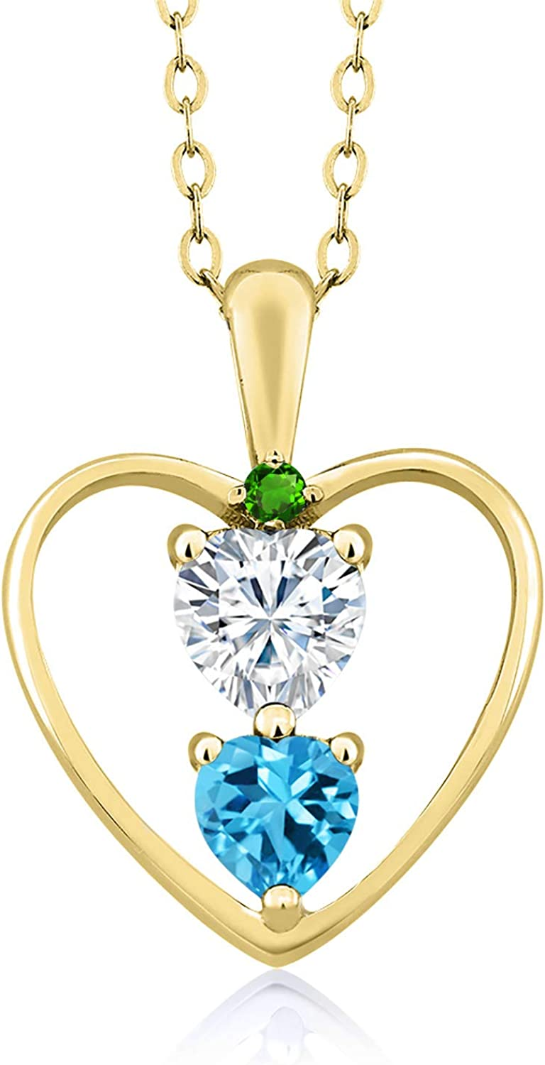 DEW Heart Shape 0.50ct GHI 18K Yellow Gold Plated Silver Pendant Forever Brilliant Created Moissanite by Charles /& Colvard and Topaz
