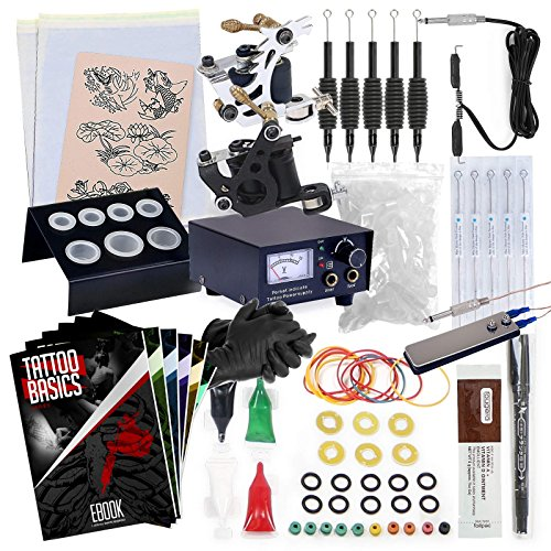 Price comparison product image Rehab Ink Complete Tattoo Kit w/2 Machines, Power Supply, Needles, 4 Inks & More