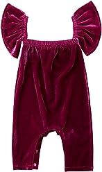 a6c04da817 WANGSCANIS Newborn Baby Girls Petal Sleeve Velvet Romper Bodysuit Jumpsuit  Outfit Clothes