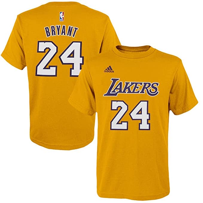 Kobe Bryant Los Angeles Lakers  24 Adidas Gold Name   Number Kids Player T  shirt 13a45883e