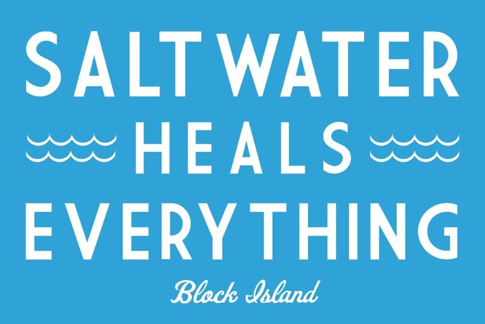 Saltwater Heals Everything 36x24 Giclee Art Print, Gallery Framed, Espresso Wood Block Island Simply Said