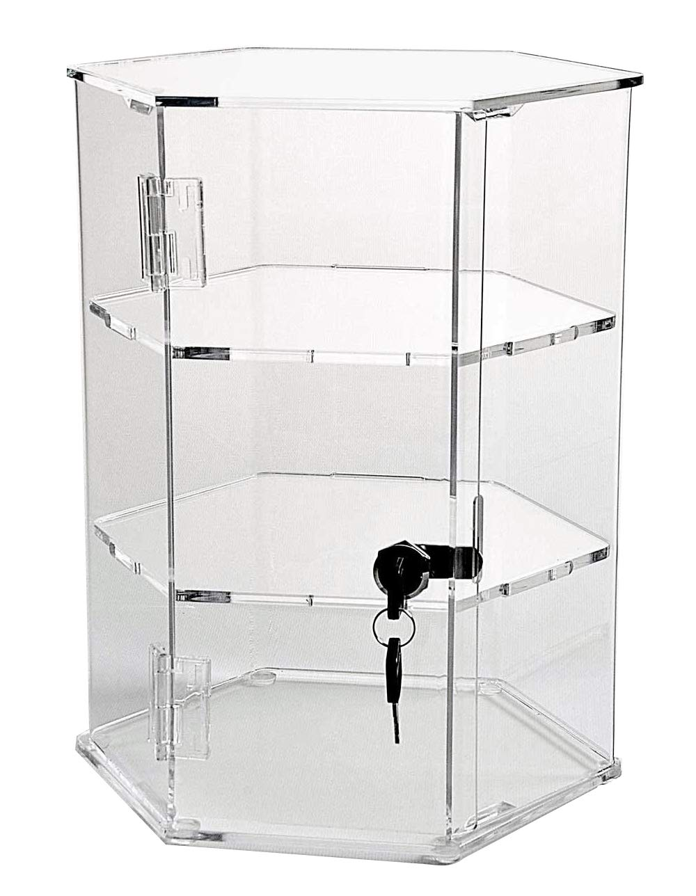 Hexagonal Acrylic Display Case - Locking (HX22-18'' Tall - 2 Shelves)