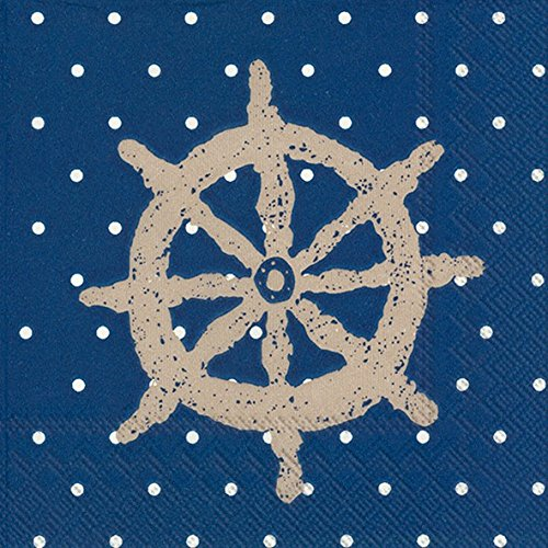 Boston International 20 Count Yacht Club 3-Ply Paper Cocktail Napkins, Blue Ship Wheel