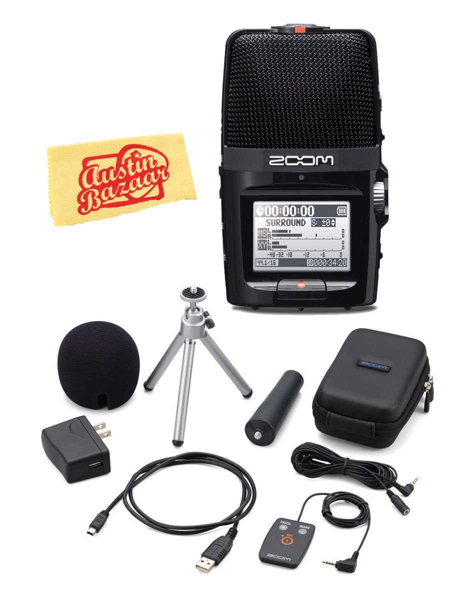 Zoom H2n Handy Recorder Bundle with Zoom APH-2n Accessory Pack and Austin Bazaar Polishing Cloth