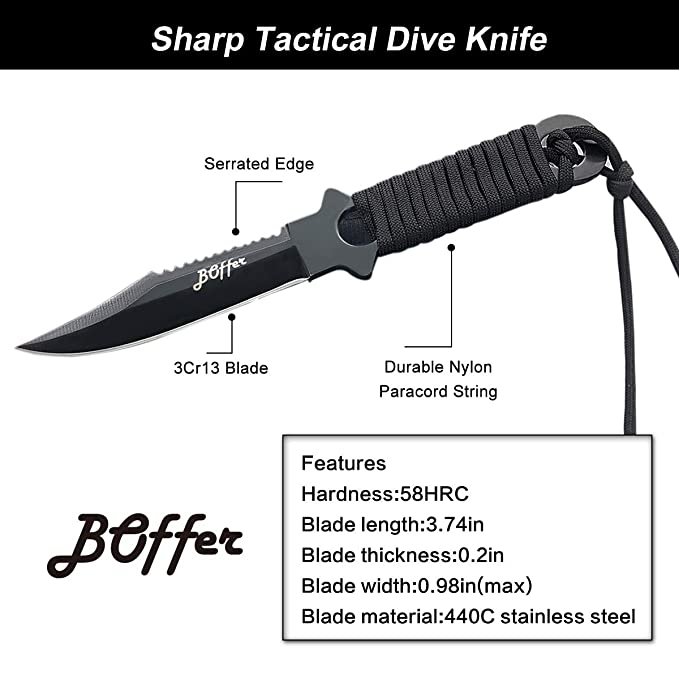 Amazon.com: BOffer - Cuchillo de buceo de doble filo con ...