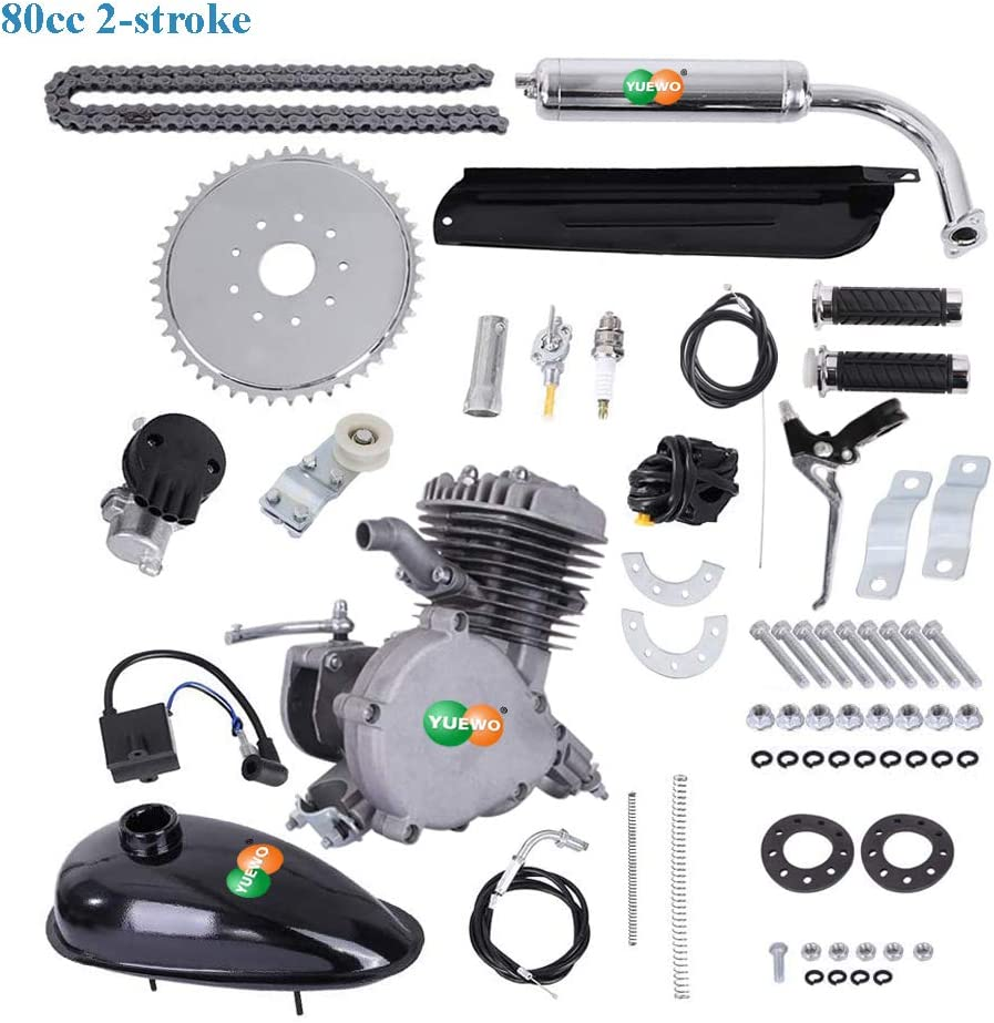 YUEWO 80cc 2-Stroke Bicycle Engine Kit Single Cylinder Gas Motorized Bike Motor Kit Bike Conversion Set with Speedoemter for 24 26 and 28 Bikes