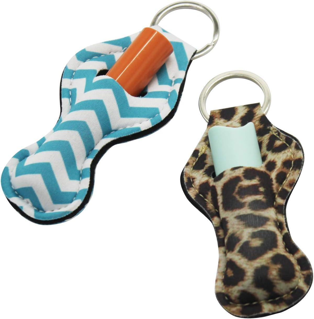 Chapstick Holder Keychain,10 Pack Lipstick Holder Keychains Different Vibrant Prints Neoprene Lip Blam Keychains,Lightweight Portable Pouch Style A