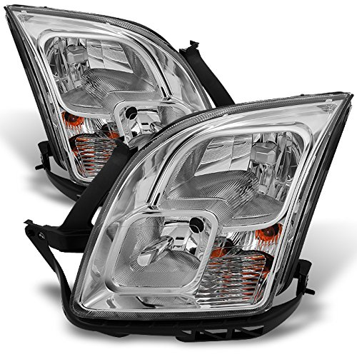 Chrome Clear Headlight Assembly (Ford Fusion Clear Chrome Headlights Head Lamps Driver Left + Passenger Right Side Replacement Pair)
