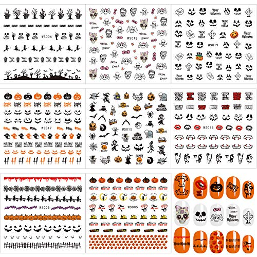 Whaline 8 Sheets Halloween Nail Art Self-Adhesive Stickers Decals,Nail Tattoo for Women Girls Kids Manicure DIY or Nail Salon