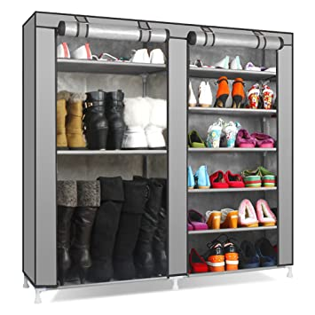 TXTu0026BAZ 27 Pairs Portable Boot Rack Double Row Shoe Rack With Nonwoven  Fabric (7