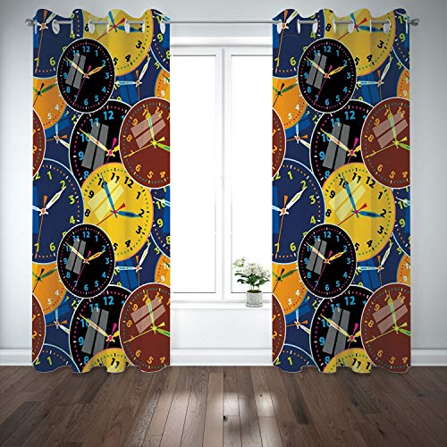 Oakland Raiders Clock Neon - SCOCICI Grommet Polyester Window Curtains Drapes [ Clock Decor,A Pattern Clock Faces on It Vintage Illustration Decorative Design,Yellow Black] Living Room Bedroom Kitchen Cafe