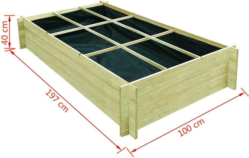 vidaXL Jardinera Verduras Madera Pino 120x120x40 cm Plantador Sembradora