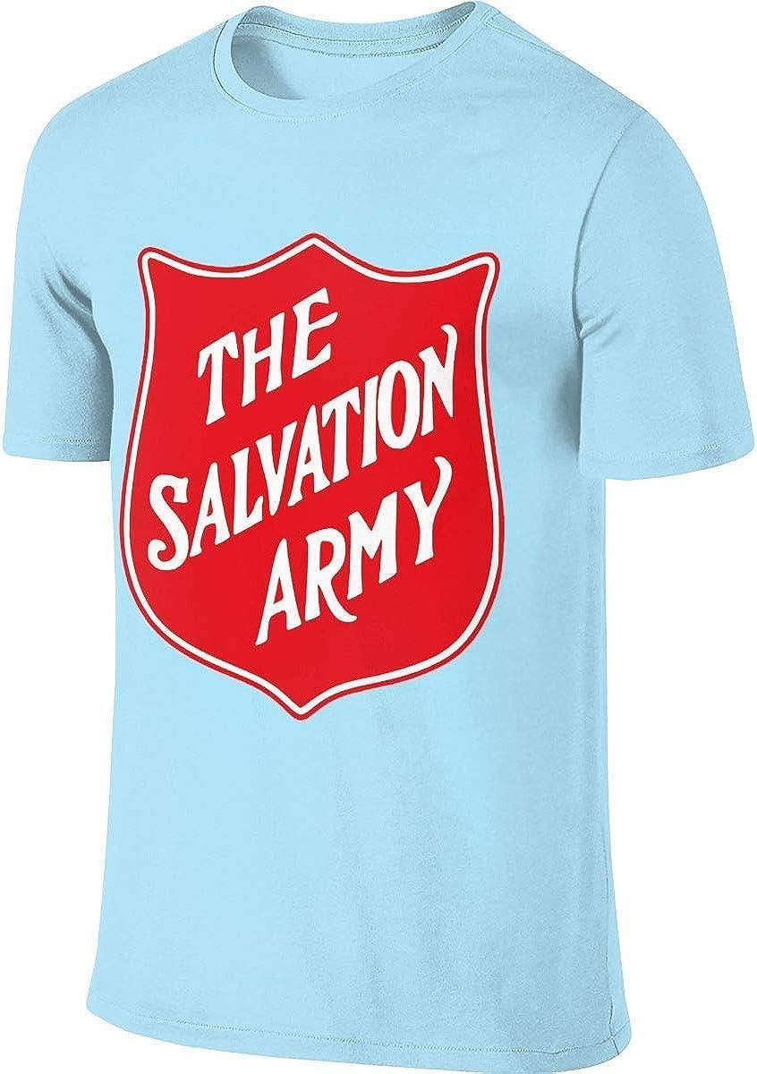 Camiseta de Manga Corta para Hombre, diseño del ejército de salvación Azul Azul Celeste L: Amazon.es: Ropa y accesorios